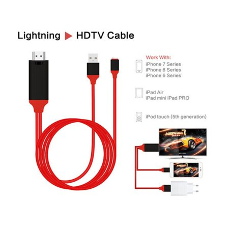 HDMI AV Adapter Cable Cord 1080P 2M 8 Pin Lightning to HDMI TV AV Adapter Cable for iPad iPhone X 8 7 6 Plus 6S to HD TV(Ship from