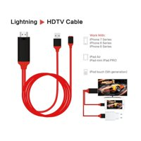 HDMI AV Adapter Cable Cord 1080P 2M 8 Pin Lightning to HDMI TV AV Adapter Cable for iPad iPhone X 8 7 6 Plus 6S to HD TV(Ship from USA)