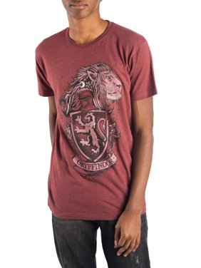 Harry Potter Men's Gryffindor House Crest Men's Short Sleeve Graphic T-Shirt, up to Size 3XL