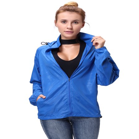 Fashion Womens/Mens Outdoor Lightweight windbreaker Jackets Waterproof Rain Coat Outwear Zip-Up Long Sleeve Hoodie Sport Windbreaker 3/4 Sleeve Zip Jacket