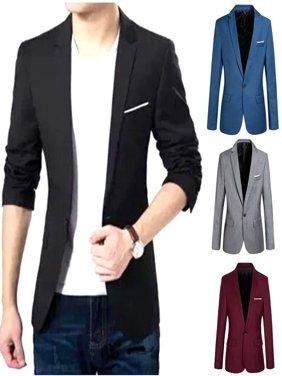 Charm Men's Casual Slim Fit One Button Suit Blazer Coat Jacket Tops Men Fashion