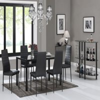 7 Piece Glass Top Rectangular Dining Table and 6 Side Metal Chairs Kitchen Breakfast Furniture