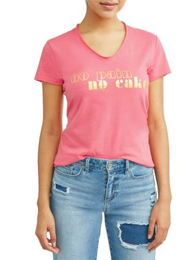 5343a27ffcd Product Image No Pain No Cake Short Sleeve V-Neck Graphic T-Shirt Women s  (Coral