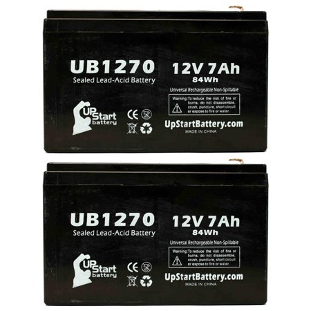 2x Pack - Best Technologies Fortress 1050 Battery Replacement -  UB1270 Universal Sealed Lead Acid Battery (12V, 7Ah, 7000mAh, F1 Terminal, AGM, SLA) - Includes 4 F1 to F2 Terminal