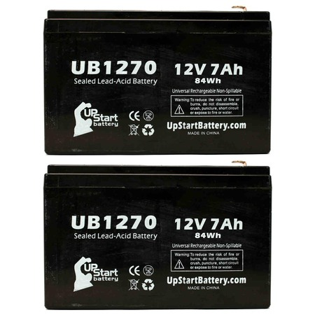 2x Pack - Compatible Saft SP2009 RECORDER Battery - Replacement UB1270 Universal Sealed Lead Acid Battery (12V, 7Ah, 7000mAh, F1 Terminal, AGM, SLA) - Includes 4 F1 to F2 Terminal Adapters