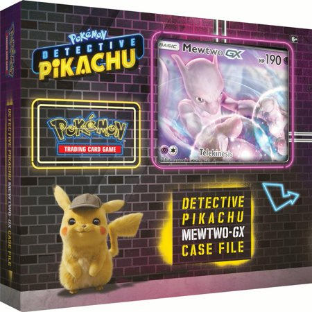 Detective Pikachu Pokemon Trading Cards- Mewtwo-Gx Case File + 6 Booster Pack + A Foil Promo Gx Card + A Oversize Gx Foil Card - Trading Pokemon