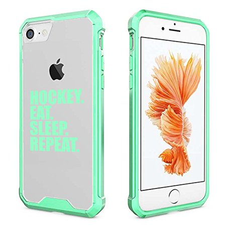 For Apple iPhone Clear Shockproof Bumper Case Hard Cover Hockey Eat Sleep Repeat (Mint For iPhone 6 / 6s) (Iphone 6 Devils Hockey Case)