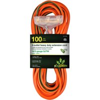 GoGreen Power 14/3 100' 15100 3-Outlet Heavy Duty Extension Cord, Lighted End