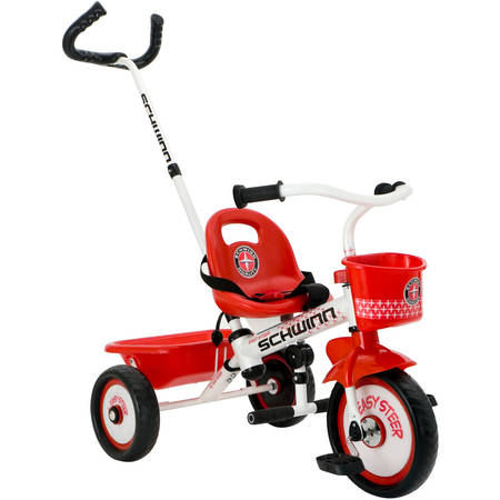 Tire Trike (Schwinn Easy-Steer Tricycle with Parent Assist Handle, Red)