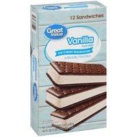 Great Value Vanilla Flavored Ice Cream Sandwiches, 42 oz, 12 Count