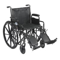 "Drive Medical Silver Sport 2 Wheelchair, Detachable Desk Arms, Elevating Leg Rests, 20"" Seat"