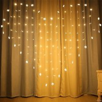 128 LED Heart-Shape Fairy String Curtain Night Light for Indoor and Outdoor, Wedding, Christmas, Home Bedroom Wall Decoration, Party