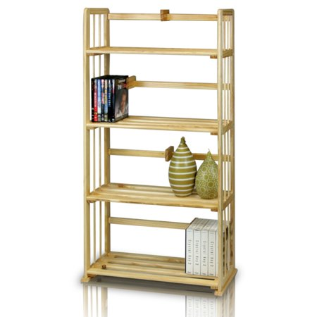 Furinno FNCL-33002 Pine Solid Wood 4-Tier Bookshelf