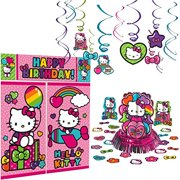 4bd5fb61d Hello Kitty Rainbow Decoration Party Supplies Pack Includes: Hanging Swirls,  Scene Setter, and