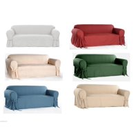 Cotton Dock Round Arm Slipcover for Sofa, Loveseat and Chair