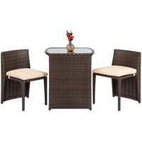 Best Choice Products Wicker 3-Piece Space Saving Outdoor Bistro Set with Glass Table Top