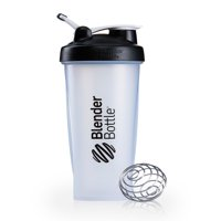 BlenderBottle 32oz Classic Shaker Cup with Wire Whisk BlenderBall and Carrying Loop, Full Color Black
