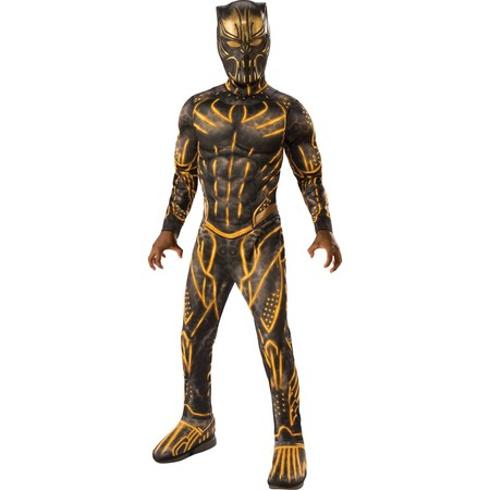 Marvel Black Panther Movie Deluxe Boys Erik Killmonger Battle Suit Costume (Boys T Rex Costume)