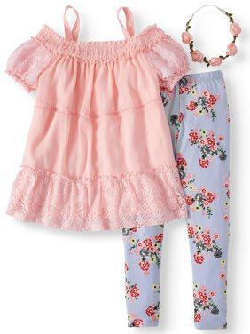 Smocked Cold Shoulder Tunic and Floral Legging, 2-Piece Outfit Set with Headband (Little Girls & Big Girls)