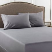 Mainstays 200 Thread Count Full Gray Fitted Sheet, 1 Each