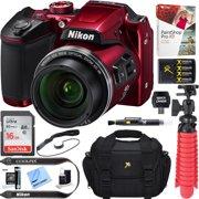 Nikon COOLPIX B500 16MP 40x Optical Zoom Digital Camera w/ WiFi - Red (Refurbished) + 16GB SDHC Accessory Bundle