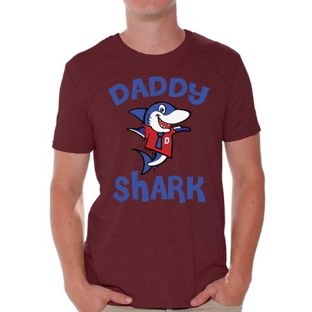 Awkward Styles Daddy Shark Tshirt for Men Shark Family T Shirt Matching Shark Shirts for Family Shark Gifts for Dad Shark Themed Party Outfit for Dad Shark Dad - 80s Themed Outfits