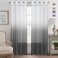 Grey Curtains Natural Linen Mixed Semi Sheer Curtains 96 Inches Long Beautiful Ombre Sheer Window Elegant Curtains/Drapes/Panels/Treatment, 2 Panels