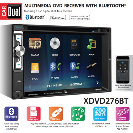 Dual Electronics XDVD276BT 6.2 inch LED Backlit LCD Multimedia Touch Screen Double Din Car Stereo with Built-In Bluetooth, iPlug, CD/DVD Player & USB/microSD