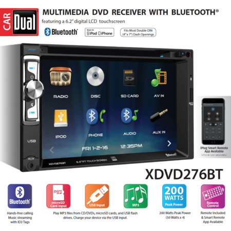 Dual Electronics XDVD276BT 6.2 inch LED Backlit LCD Multimedia Touch Screen Double Din Car Stereo with Built-In Bluetooth, iPlug, CD/DVD Player & USB/microSD Ports