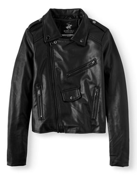 Beverly Hills Polo Club Girls' Faux Leather Moto Jacket