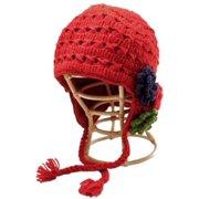 2e770658bb9 Nirvanna Designs CH111F2 Crochet Flower Detail Earflap Hat with Fleece - Red