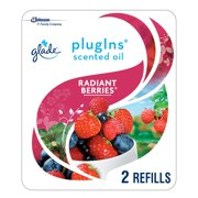 Glade PlugIns Scented Oil Refill Radiant Berries, Essential Oil Infused Wall Plug In, Up to 50 Days of Continuous Fragrance, 1.34 oz, Pack of 2