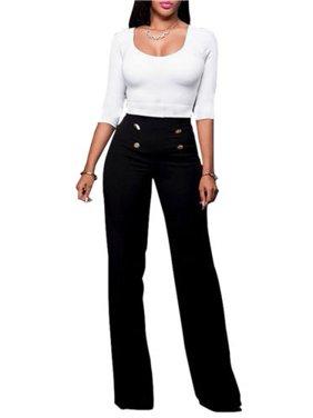 Women High Waist Flared Wide Leg Palazzo OL Career Button Long Trousers Pants