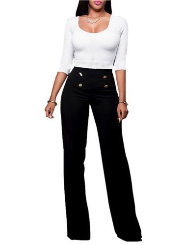 Women High Waist Flared Wide Leg Palazzo OL Career Button Long Trousers (Track Pants With Buttons On The Side)