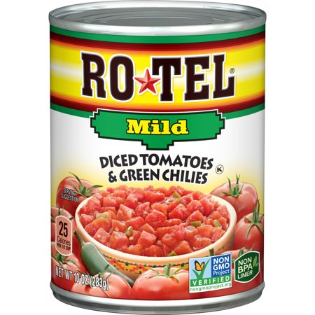 - (6 Pack) RO*TEL Mild Diced Tomatoes and Green Chilies, 10 Ounce