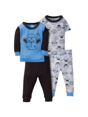 Gerber Mix N Match Cotton Tight Fit Pajamas, 4pc Set (Baby Boys & Toddler Boys)