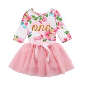 c4acb1d82 Baby Girls 1st Birthday Outfits Long Sleeve Floral Romper With Tutu Skirt  Set 0-6