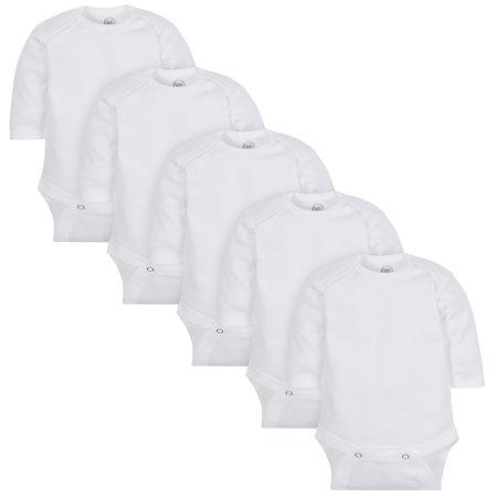 Wonder Nation Long Sleeve White Bodysuit, 5 pack (Baby Boy or Baby Girl Unisex) 5 Pack White Onesies