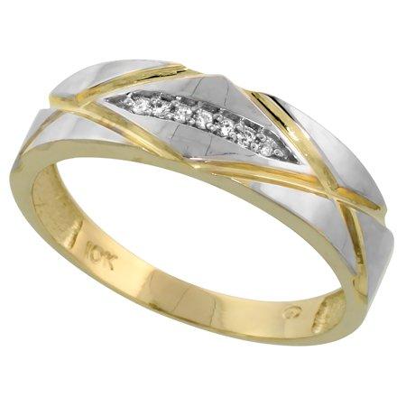 10k Yellow Gold Mens Diamond Wedding Band Ring 0.04 cttw Brilliant Cut, 1/4 inch 6mm wide