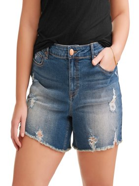 Women's Plus Sharkbite Fray Hem Boyfriend Denim Shorts