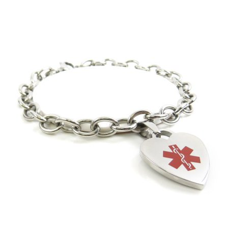 MyIDDr - Womens COPD Lung Disease Bracelet, Medical ID Charm Steel, Pre-Engraved - Lung Cancer Bracelets
