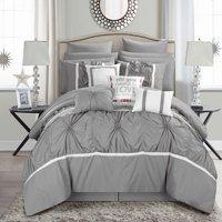 Chic Home 16-Piece Legaspi Floral Pinch Pleat Ruffled Designer Embellished King Bed In a Bag Comforter Set White With sheet set