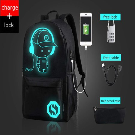 Fashion Luminous Backpack with USB Charging Port and Lock, fashion Glow In The Dark Backpack Laptop Bag Shoulder Day pack Handbag for Boys, Girls, Men, Women, Teen