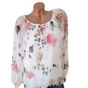 d9dfb145fe7 Womens Plus Size T-shirt Summer Chiffon Floral Printed Casual Off Shoulder  O-neck
