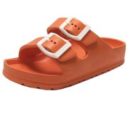 b6b4105f0 Kids Boy and Girl EVA Rubber Double Buckle Slides Comfort Footbed Light  Weight Sandals (FREE