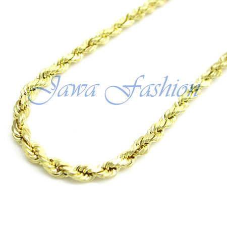14K Yellow Gold Mens 2MM Solid Diamond Cut Ropes Chains Necklace 16 to 22 Inches, 20 Inches - Mens Gold Chain Necklace