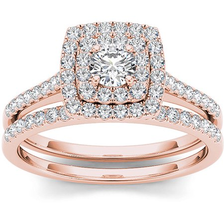 3/4 Carat T.W. Diamond 10kt Rose Gold Double Halo Engagement Ring Set