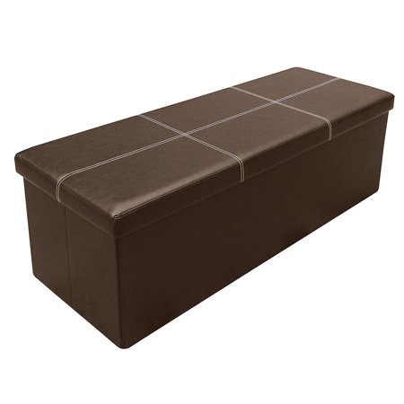 Otto & Ben 45 Inch Line Design Memory Foam Folding Storage Ottoman Bench with Faux Leather