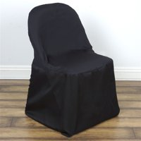 BalsaCircle Folding Round Polyester Chair Covers Slipcovers for Party Wedding Reception Decorations