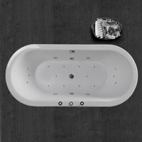 """WOODBRIDGE 67"""" x 32"""" Whirlpool Water Jetted and Air Bubble Freestanding Bathtub , B-0030 / BTS1606"""